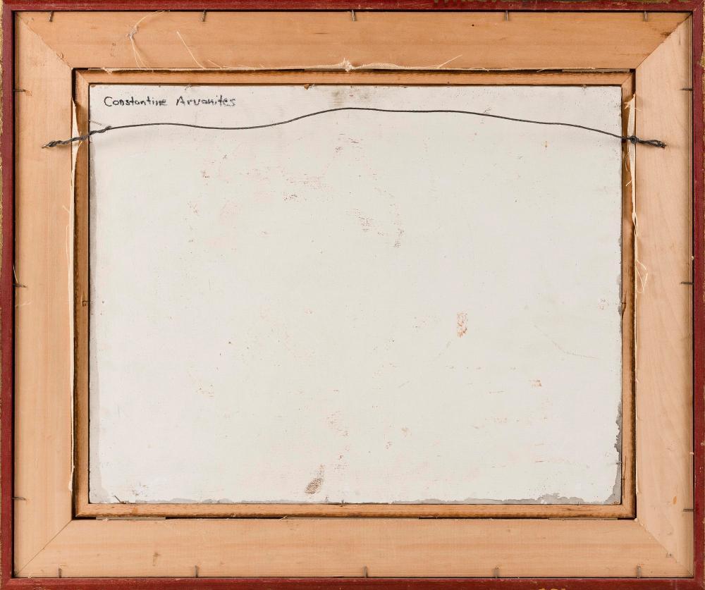 CONSTANTINE ARVANITES, Massachusetts, 1921-1998, Musical still life., Oil on board, 16.5