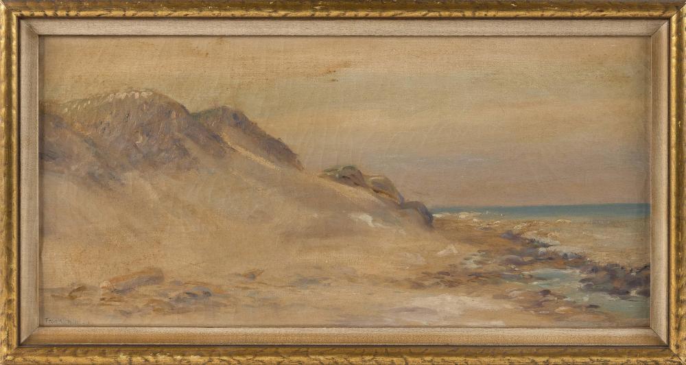 "AMERICAN SCHOOL, 20th Century, Dune scene., Oil on canvas, 12"" x 25"". Framed 15"" x 28""."