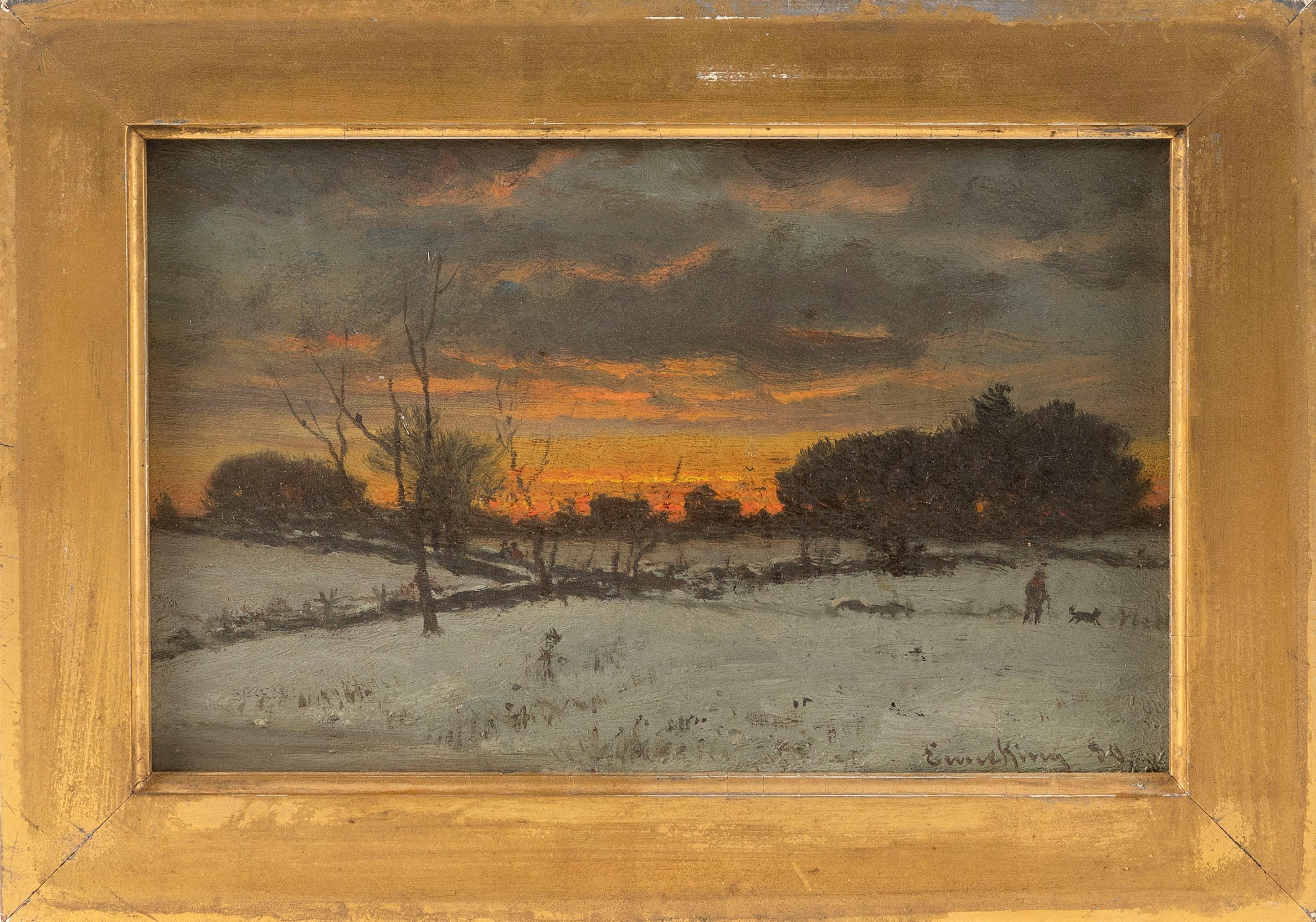 """JOHN JOSEPH ENNEKING, Massachusetts/New York/Maine/Ohio, 1841-1916, Sunset winter landscape., Oil on board, 6.25"""" x 9.5"""". Framed 8""""..."""
