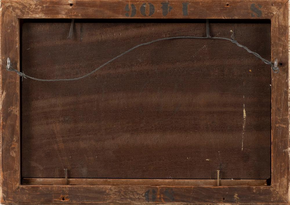 JOHN JOSEPH ENNEKING, Massachusetts/New York/Maine/Ohio, 1841-1916, Sunset winter landscape., Oil on board, 6.25