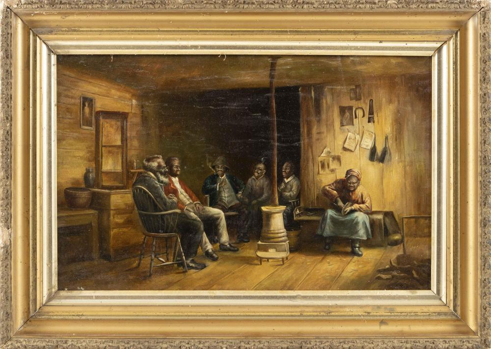 """AMERICAN SCHOOL, Early 20th Century, Figures around a cabin stove., Oil on canvas, 14"""" x 22"""". Framed 20"""" x 28""""."""