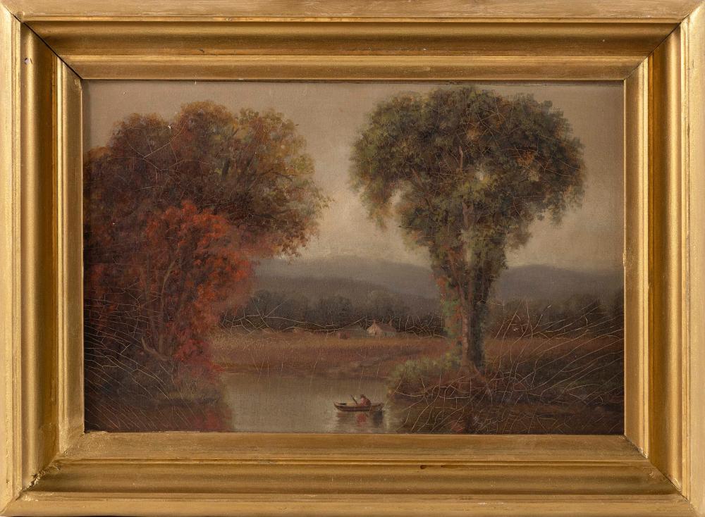 "AMERICAN SCHOOL, Late 19th Century, Autumn lake landscape., Oil on board, 9"" x 13"". Framed 12"" x 16""."