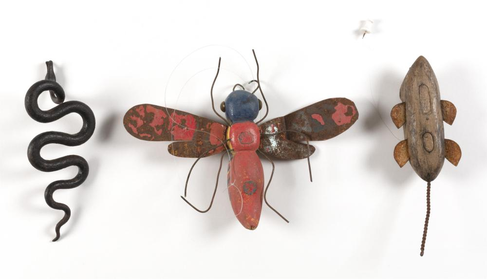 THREE ANIMAL FIGURES 1) Flying wasp with carved and painted wooden body and paint-decorated tin wings. Length 6