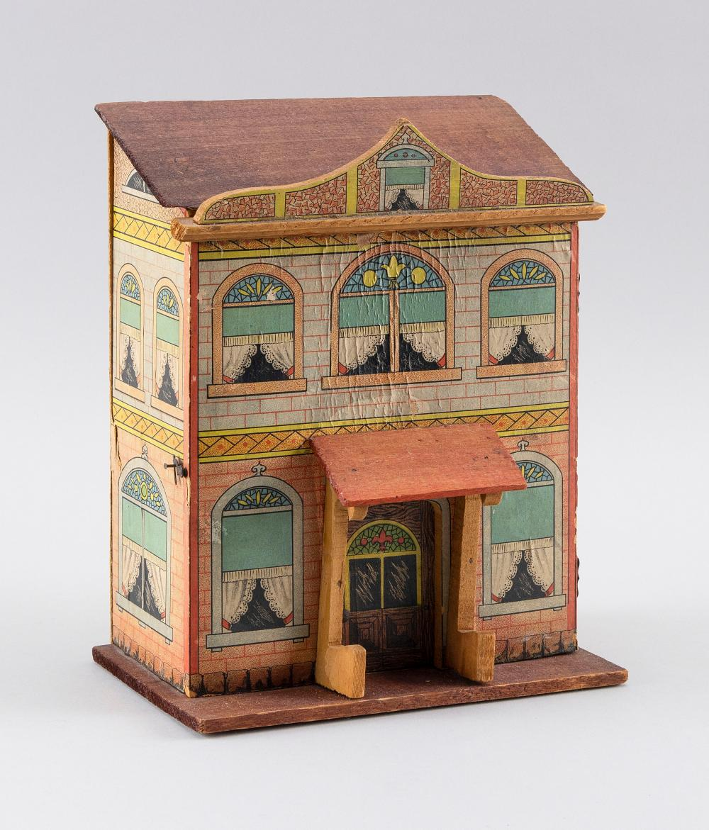 "LITHOGRAPHED WOODEN DOLLHOUSE ATTRIBUTED TO BLISS MANUFACTURING COMPANY Fitted interior. Height 9.75"". Width 8"". Depth 5""."