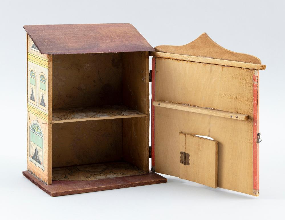 LITHOGRAPHED WOODEN DOLLHOUSE ATTRIBUTED TO BLISS MANUFACTURING COMPANY Fitted interior. Height 9.75