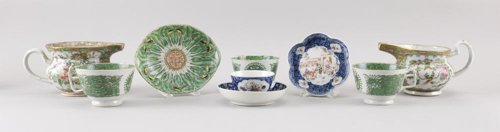 EIGHT PIECES OF CHINESE EXPORT PORCELAIN 1) Teacup and saucer with hand-painted bouquets and underglaze blue decoration. 2) Florifor...