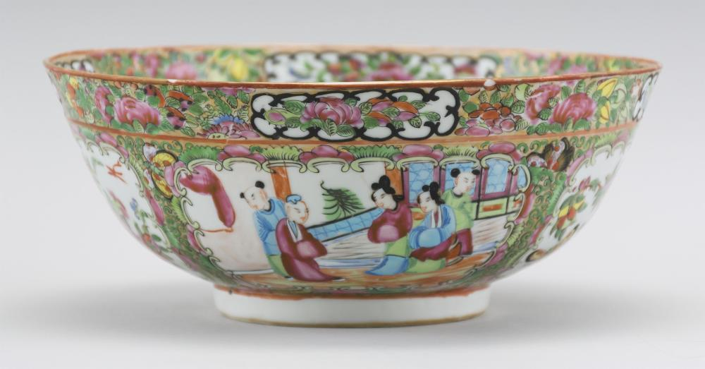 """CHINESE EXPORT ROSE MEDALLION PORCELAIN BOWL Finely enameled decoration of figures, birds, fruits and flowers. Height 4"""". Diameter 9""""."""