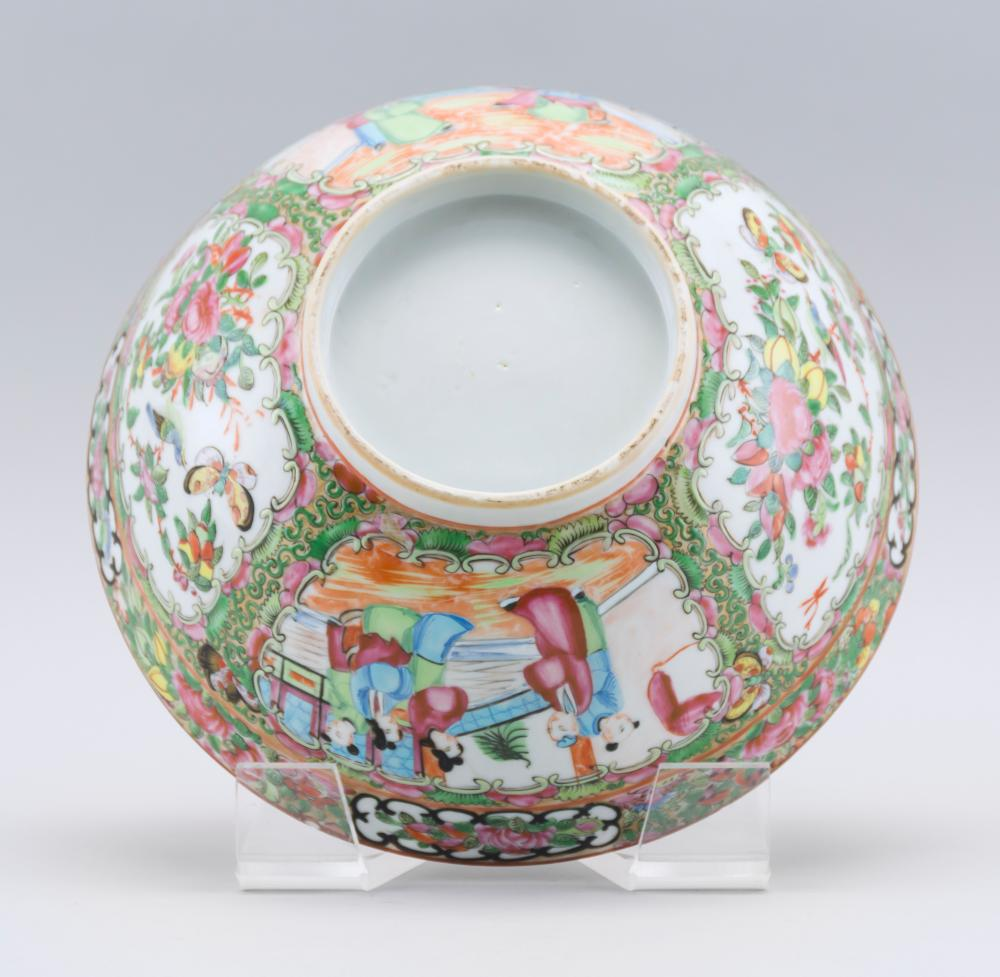 CHINESE EXPORT ROSE MEDALLION PORCELAIN BOWL Finely enameled decoration of figures, birds, fruits and flowers. Height 4