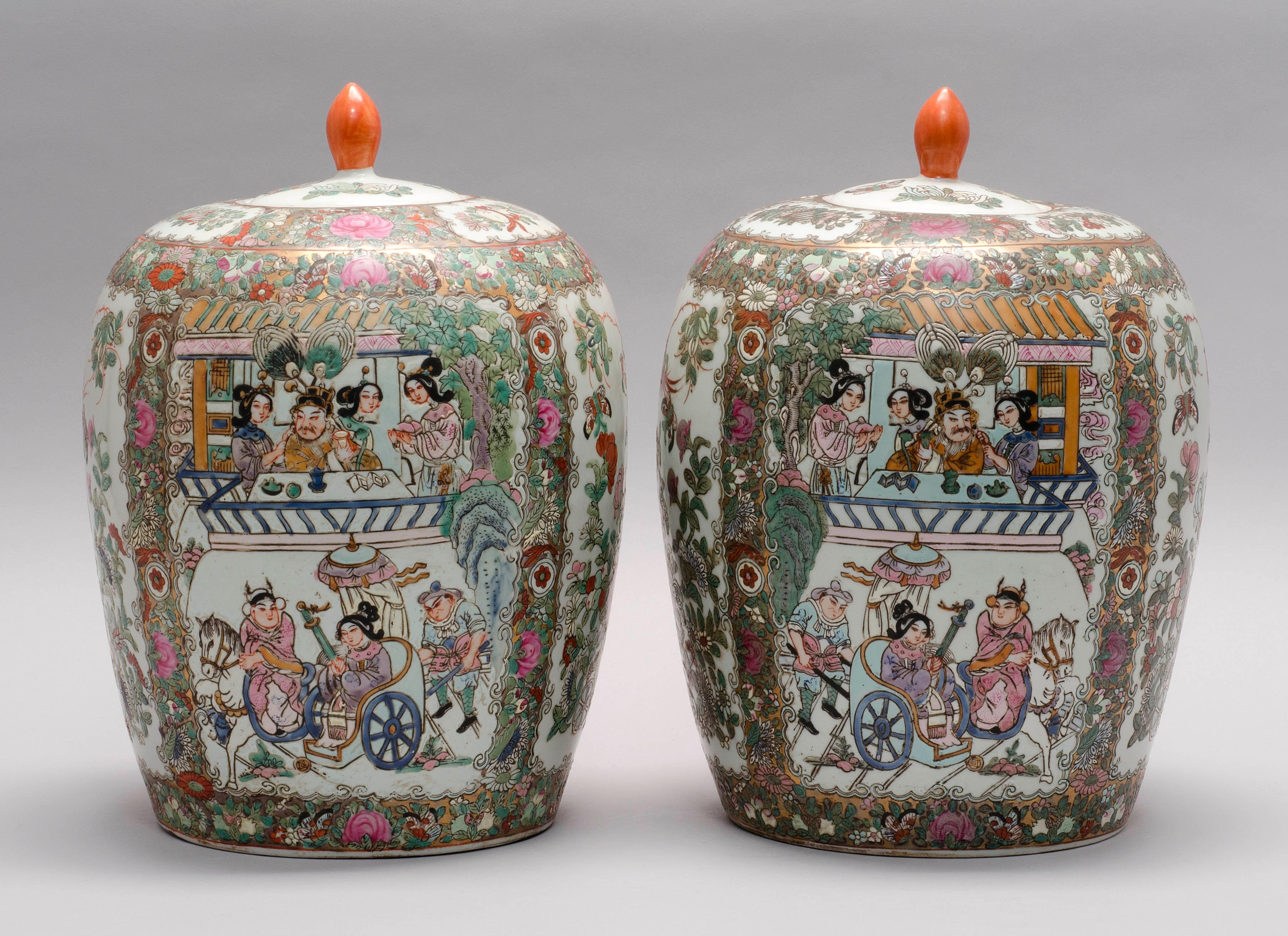 PAIR OF CHINESE PORCELAIN FAMILLE ROSE GINGER JARS With Rose Medallion figural and floral panels. Six-character Qianlong mark on bas...