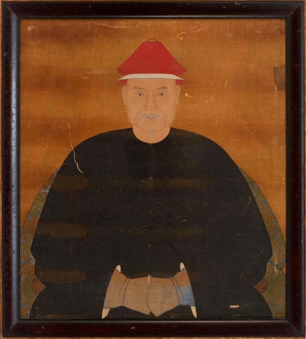 """CHINESE ANCESTRAL PORTRAIT ON SILK Half-length portrait of a man wearing a red cap and black robe. Backed on a cradle board. 30"""" x 2..."""