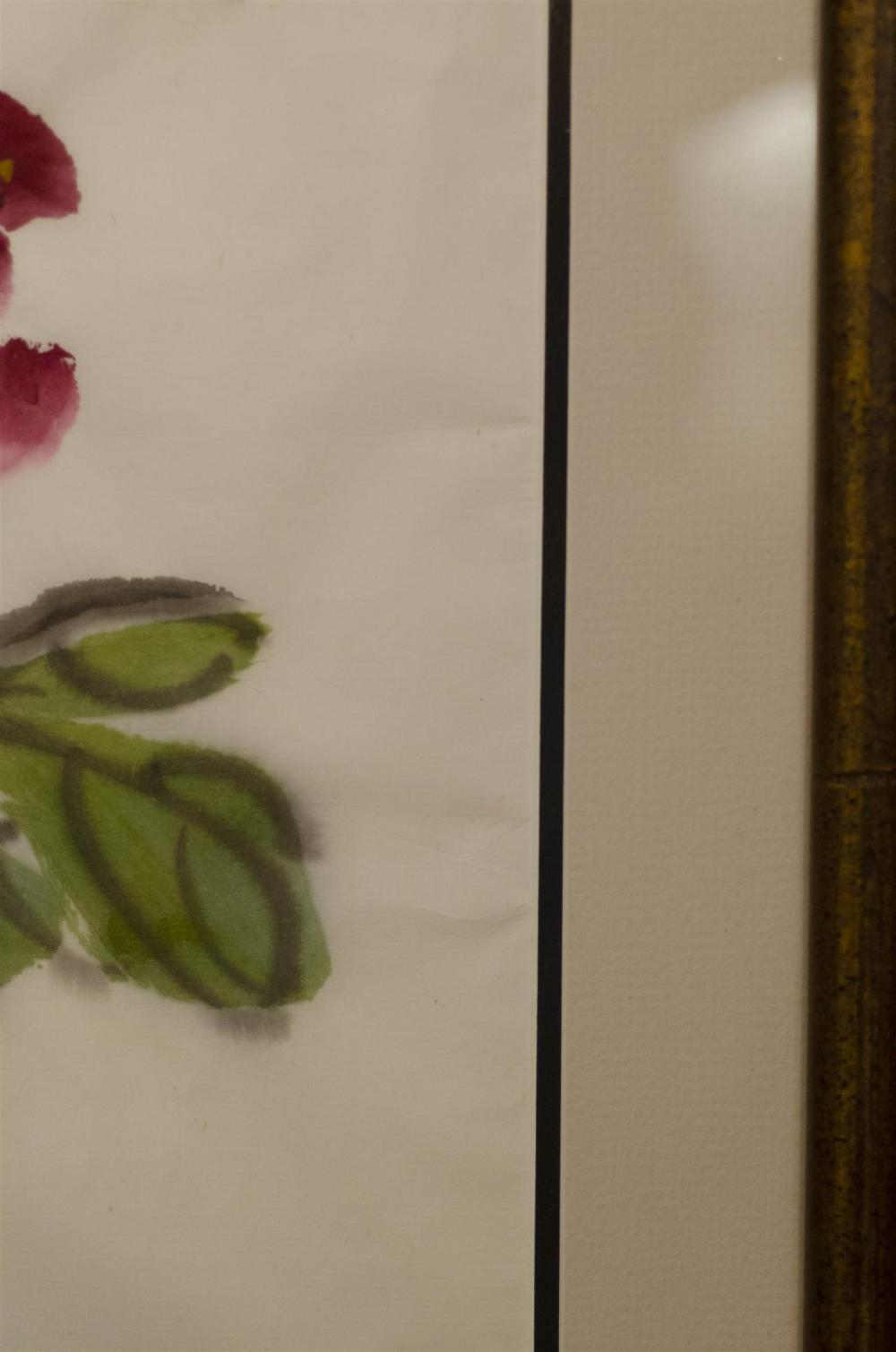 CHINESE PAINTING ON PAPER IN THE MANNER OF QI BAISHI Depicts pink peonies. Signed and seal marked upper left. 26.5