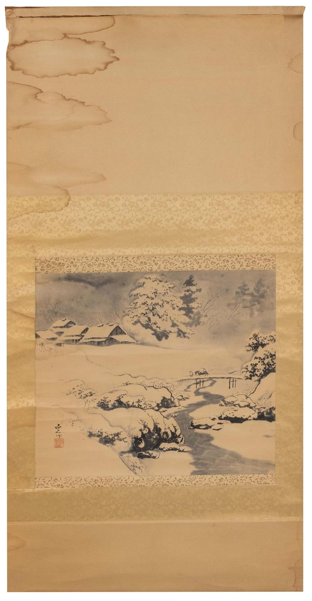 "JAPANESE SCROLL PAINTING ON PAPER Depicts a farmer on a bridge in a winter landscape. Signed and seal marked lower left. 16"" x 20""...."