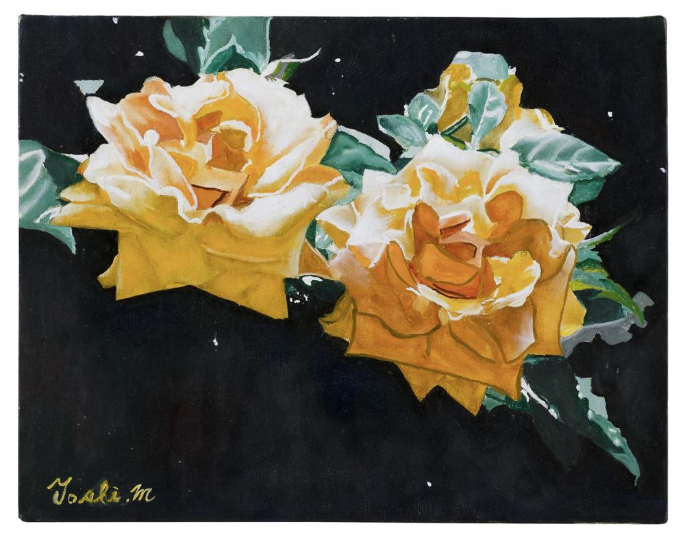 "TOSHIHARU MATSUBARA, Japan, Contemporary, ""White Rose""., Oil on canvas, 12.5"" x 16"". Unframed."