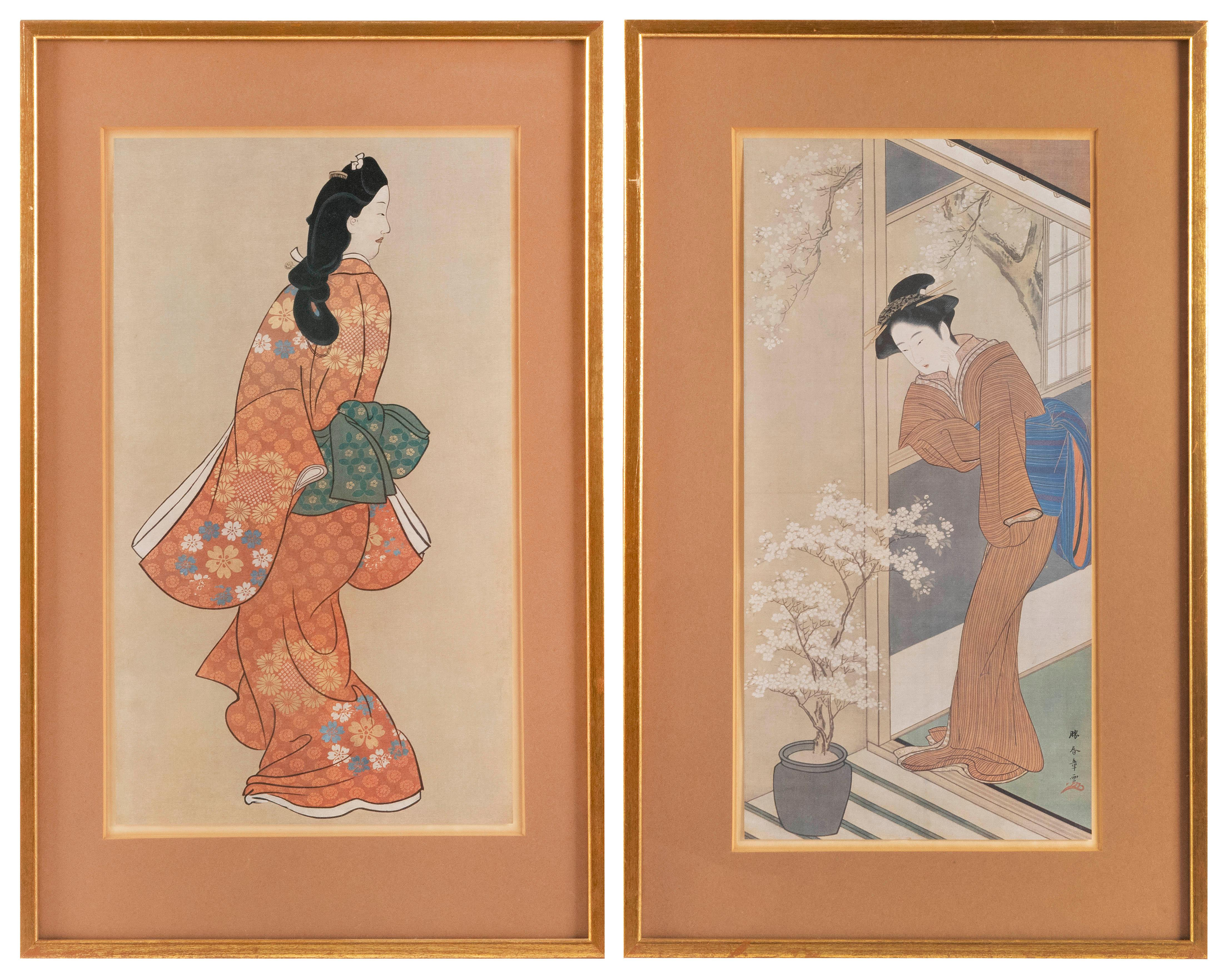 "TWO WOODBLOCK PRINTS 1) ""Beauty Looking Back"" by Hishikawa Moronobu. 2) From ""Women in Seasons of Snow, Moon, and Flower"" by Katsuka..."