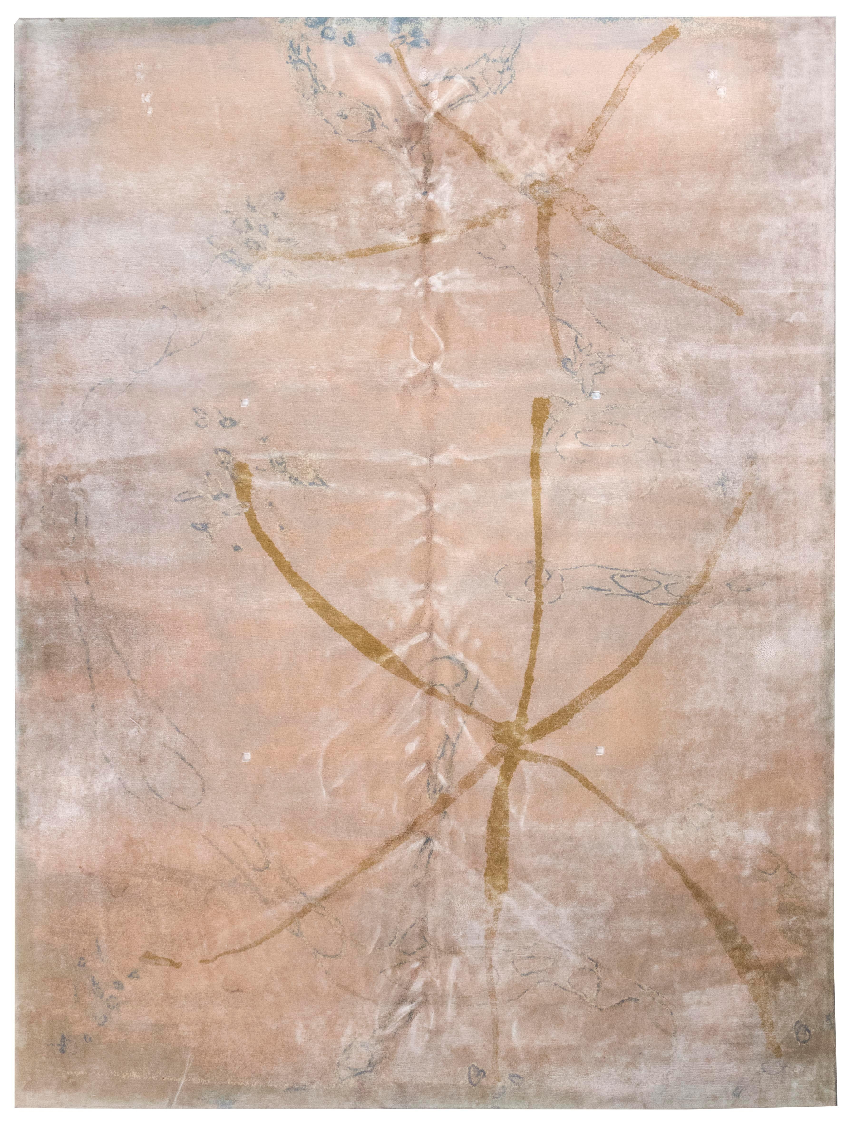 """ORIENTAL RUG: CONTEMPORARY IN AN ABSTRACT FLORAL DESIGN 9'0"""" x 11'11"""" Organic elements of brassy gold, beige and bluish-gray on a mo."""