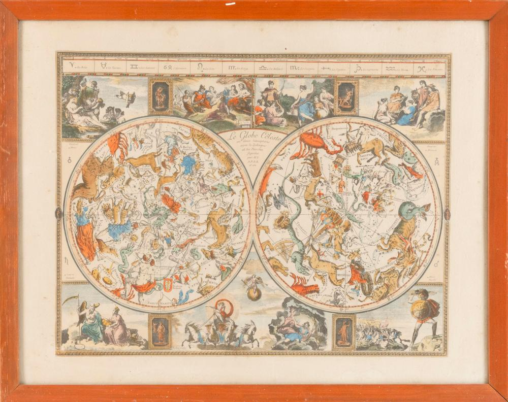 """HAND-COLORED CELESTIAL AND ZODIAC MAP Titled """"Le Globe Celeste, en deux hemispheres avec le Zodiaque et les Planetes figurees par M...."""