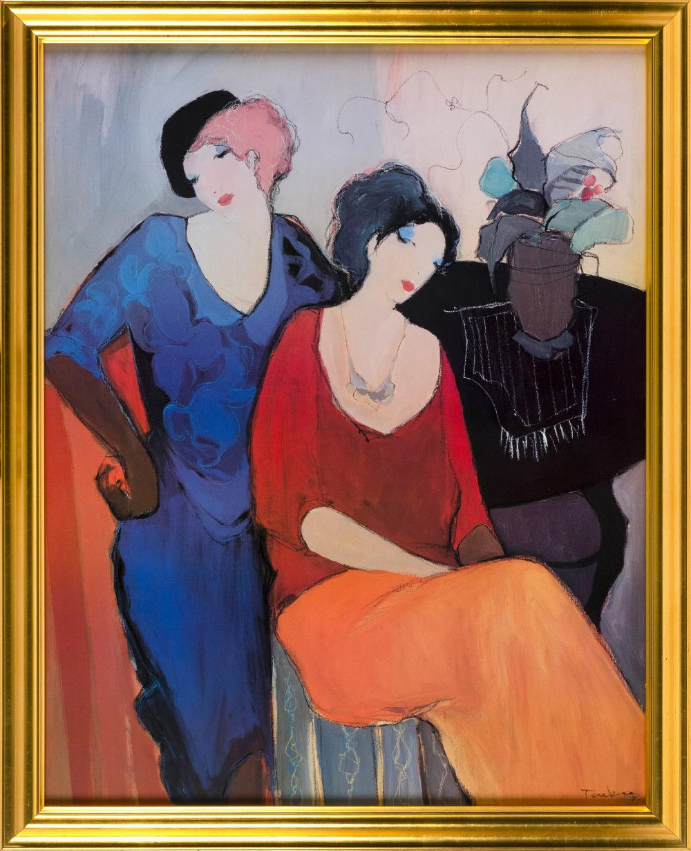 """ITZCHAK ISAAC TARKAY, Serbia/Israel, 1935-2012, Two figures in an interior., Lithograph on paper, 29.5"""" x 23.5"""". Framed 34"""" x 27""""."""