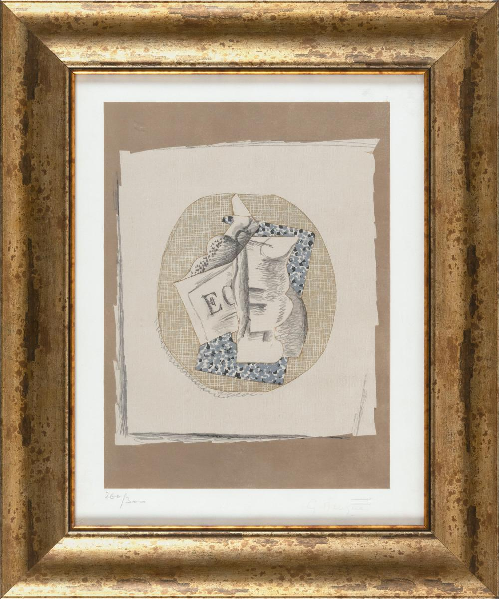"""GEORGES BRAQUE, France, 1882-1963, """"Verre et Journal""""., Colored lithograph, 8"""" x 13.5"""" sight. Framed 23.5"""" x 19.5""""."""