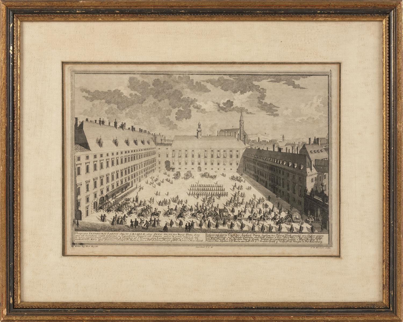 "AFTER SALOMON KLEINER, Germany, 1703-1759, ""Prospectus Interioris Partis Arcis Caesarea ...""., 9.5"" x 13.5"" sight. Framed 16"" x 20""."