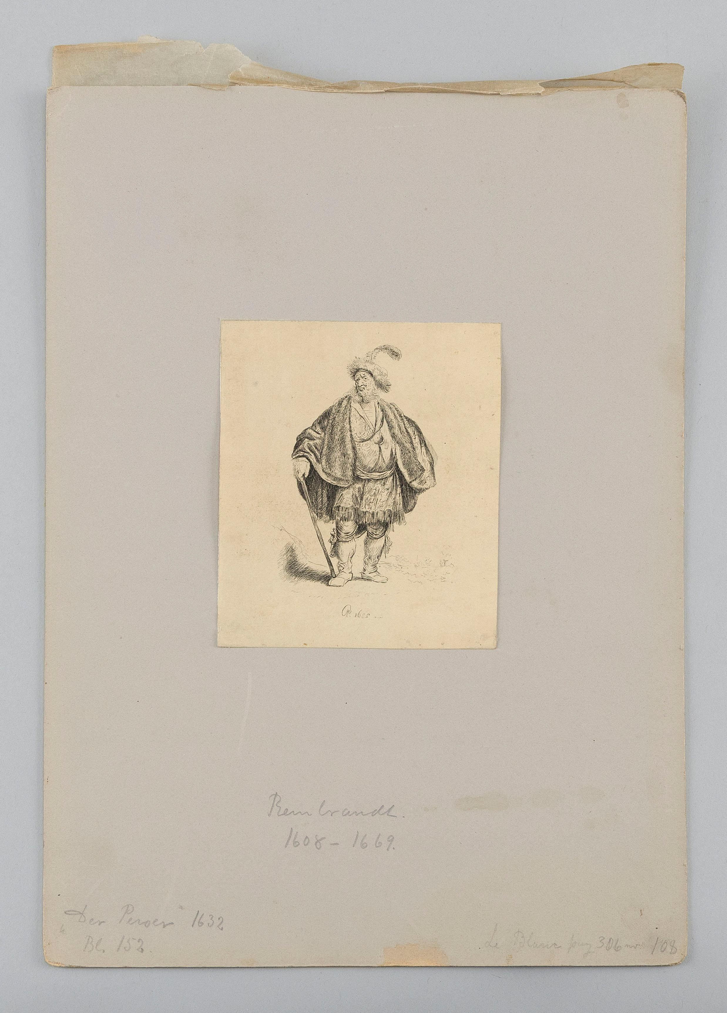"AFTER REMBRANDT VAN RIJN, Netherlands, 1606-1669, ""The Persian"", 19th Century., Lithographed copy of etched original, 4.75"" x 4"" sheet."