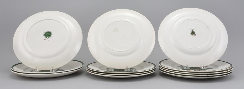 TWELVE ASSORTED PLATES WITH SIMILAR CHRISTMAS TREE DESIGNS Makers vary. Diameters 10