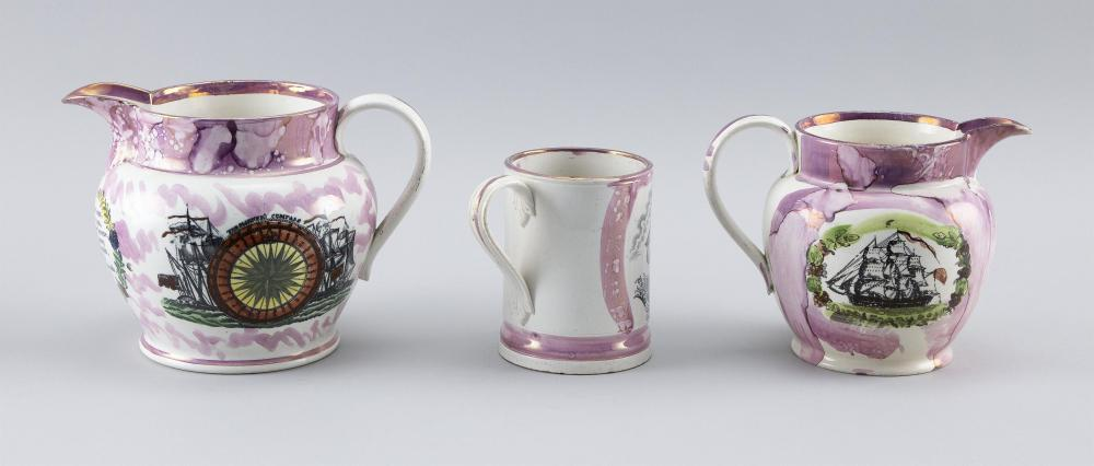 THREE PIECES OF SUNDERLAND PINK LUSTREWARE 1) Pitcher depicting the Sailor's Farewell, compass rose with two ships, and a verse bene..