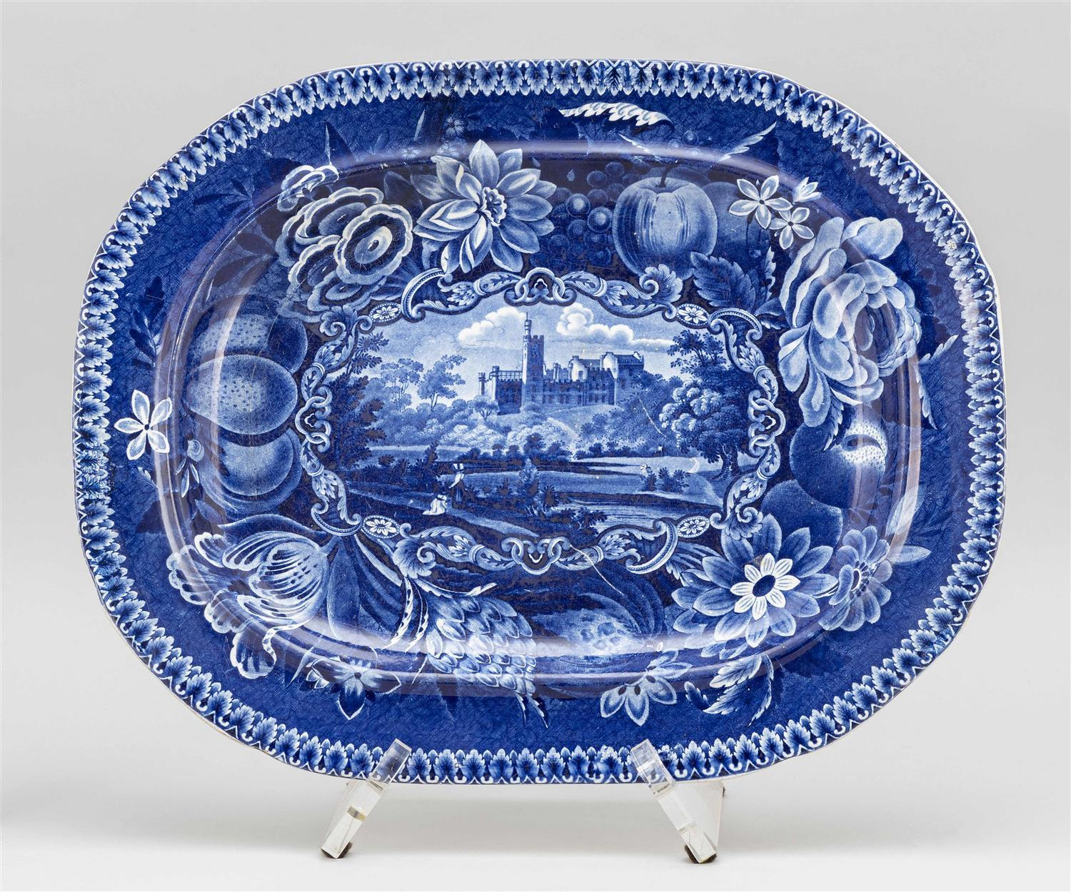 "R. HALLS ""GYRN, FLINTSHIRE WALES"" BLUE AND WHITE TRANSFERWARE PLATTER Length 17""."
