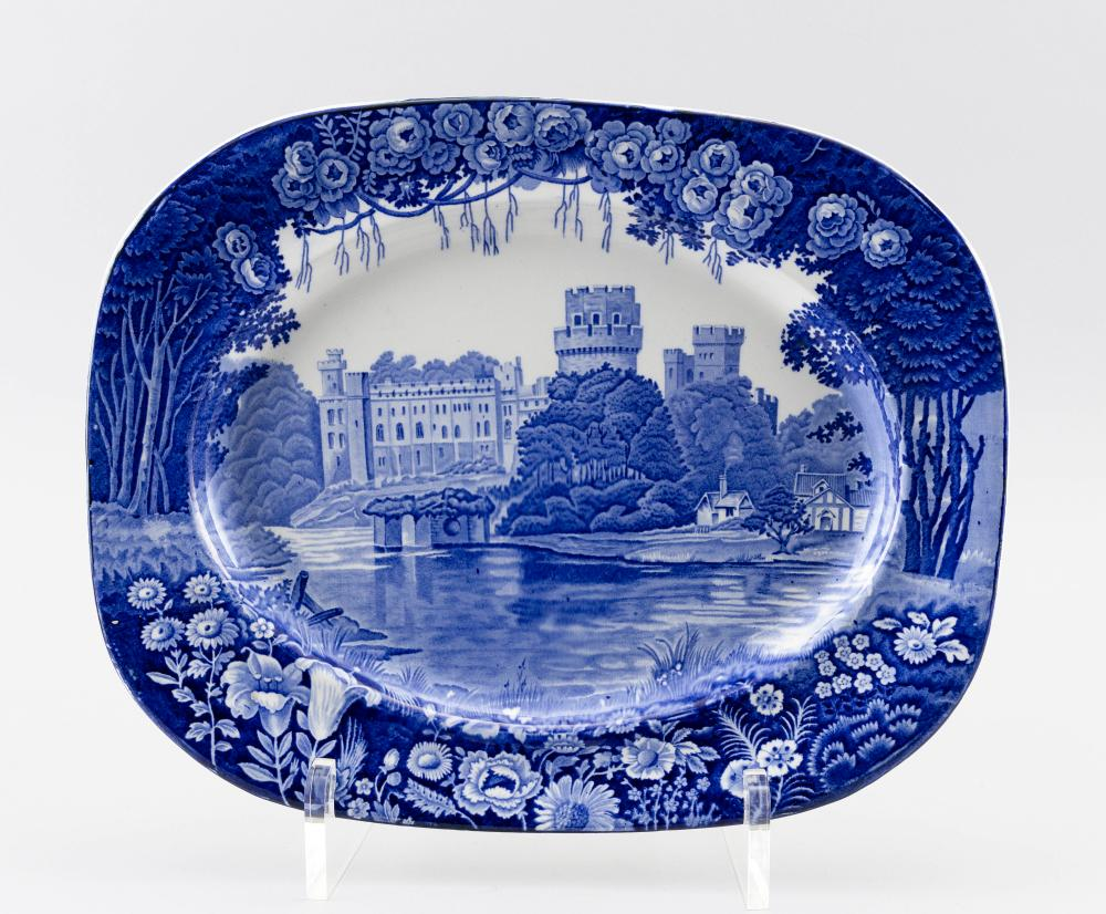 "WOOD & SONS ""WARWICK"" FROM ""ENOCH WOOD'S CASTLES"" BLUE AND WHITE TRANSFERWARE PLATTER Length 16""."