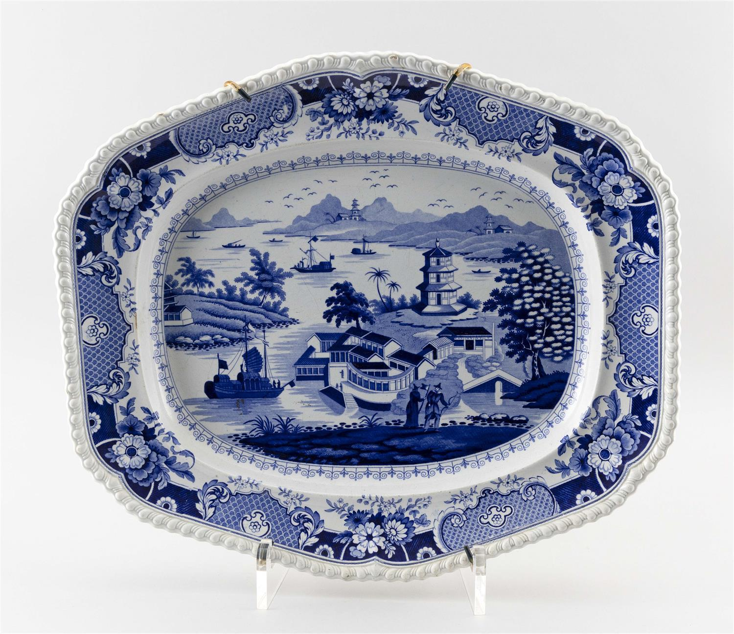 """RIDGWAY """"INDIA TEMPLE"""" PATTERN BLUE AND WHITE TRANSFERWARE PLATTER Stamped factory mark. Length 21.5""""."""