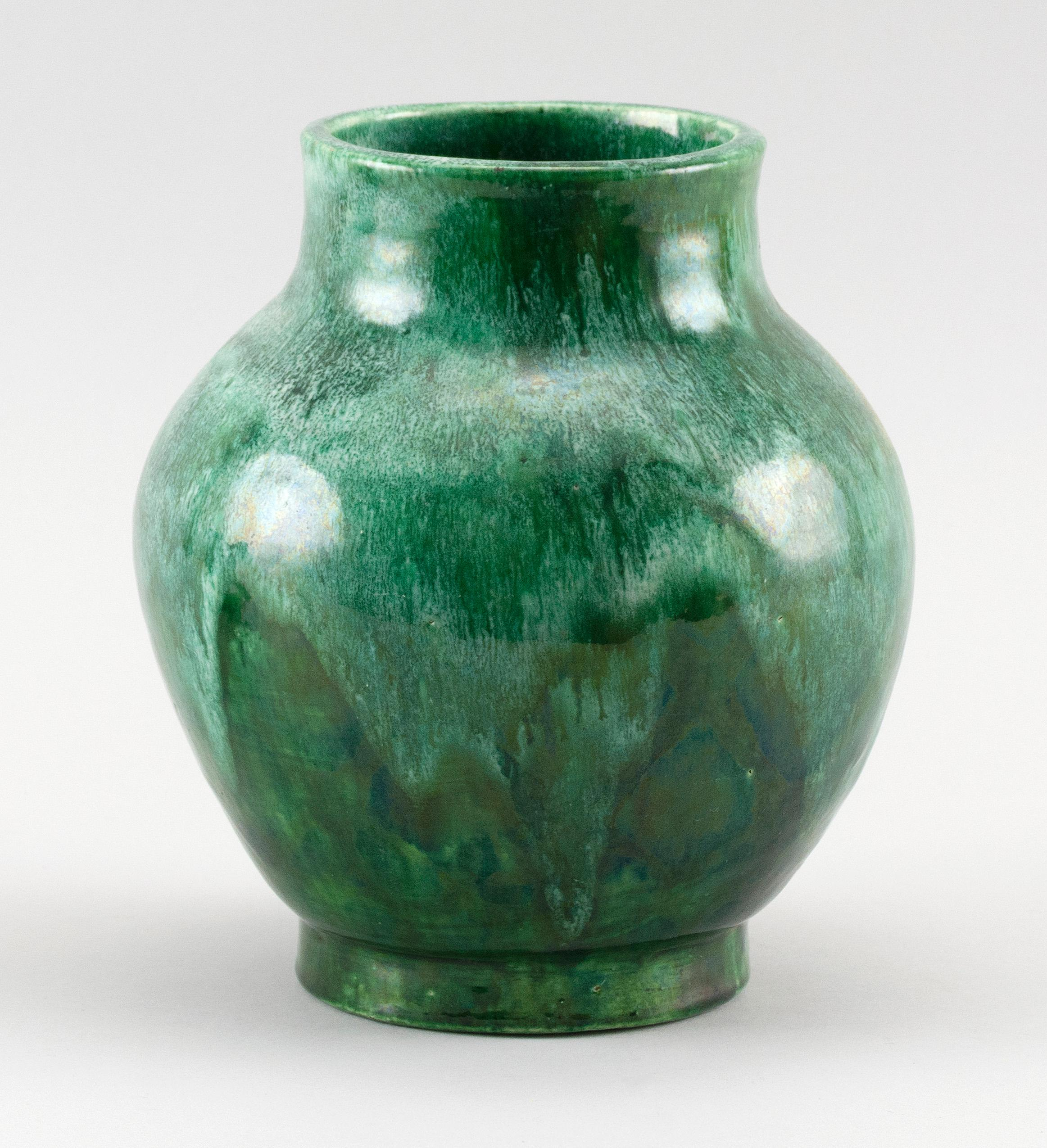 """ART POTTERY VASE Balustroid, with a heavy, variegated green glaze. Unidentified impressed mark. Height 7.25""""."""