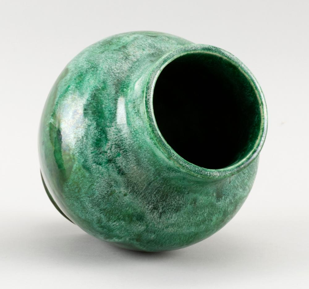 ART POTTERY VASE Balustroid, with a heavy, variegated green glaze. Unidentified impressed mark. Height 7.25