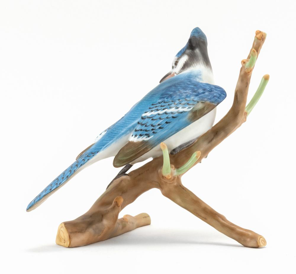 HEREND PORCELAIN BLUEJAY Perched on a tree branch. Height 8