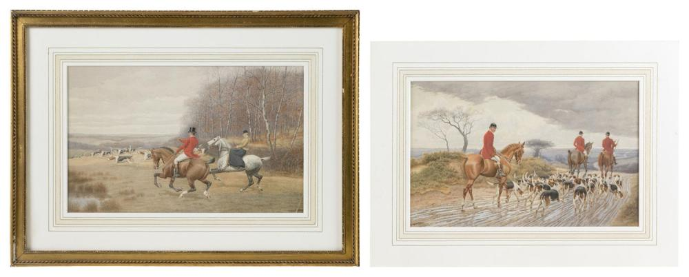 "EDWARD ALGERNON STUART DOUGLAS, United Kingdom, 1848-1918, Pair of hunting scenes., Watercolors on paper, 8"" x 12.5"" sight. One fram..."