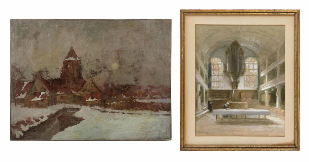 "TWO PAINTINGS OF CATHEDRALS 1) Cathedral interior by Gerke Henkes (Netherlands, 1844-1927). Signed lower left ""G. Henkes"". Mixed med..."