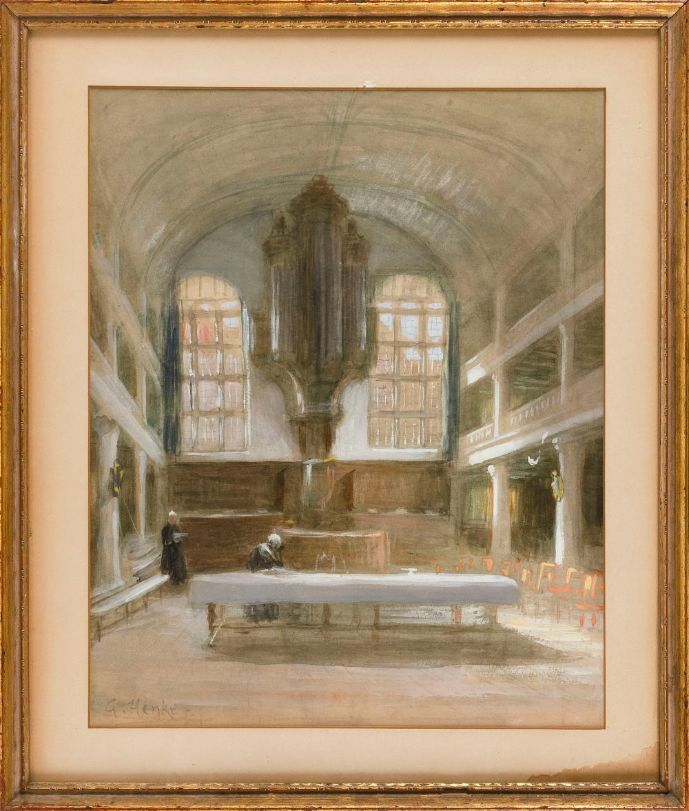 TWO PAINTINGS OF CATHEDRALS 1) Cathedral interior by Gerke Henkes (Netherlands, 1844-1927). Signed lower left