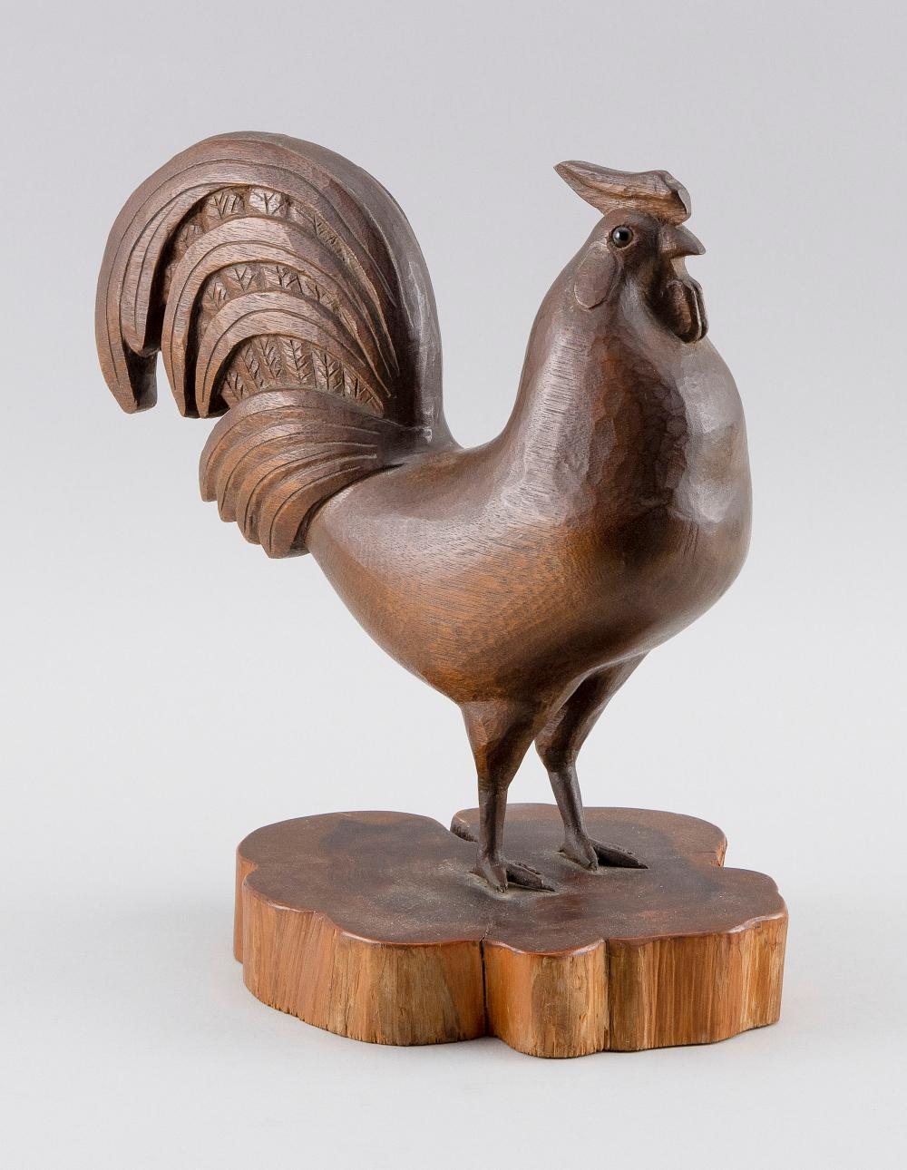 """CARVED WOODEN ROOSTER Height 10""""."""