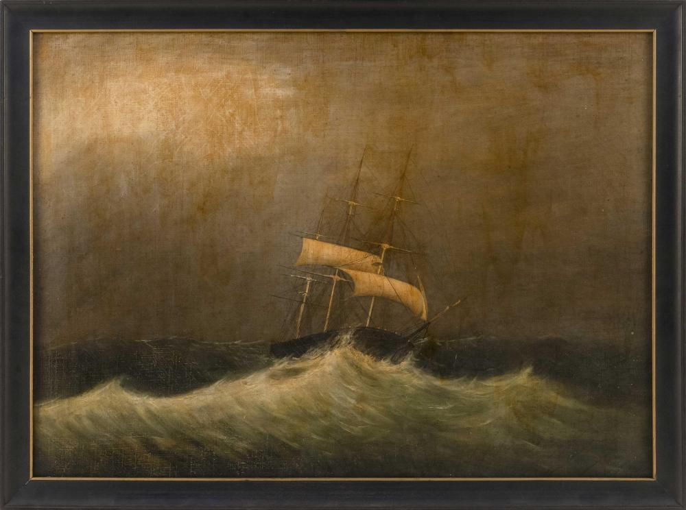 """SCHOOL OF CLEMENT DREW, 19th Century, Ship in a storm., Oil on canvas, 21"""" x 29"""". Framed 23.5"""" x 31.5""""."""
