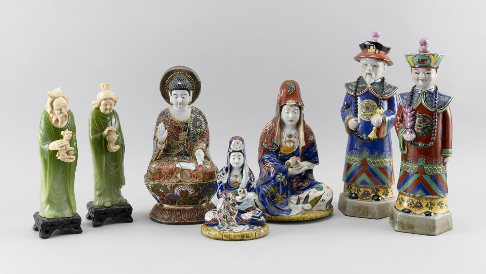 """SEVEN JAPANESE AND CHINESE FIGURES 1-3) Three porcelain Guanyin/Kwannon figures. Heights from 7"""" to 11"""". 4-5) Standing porcelain Man..."""