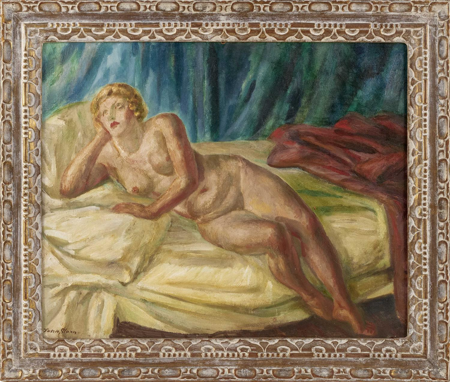 "JOHN FRENCH SLOAN, New York/New Mexico/New Hampshire, 1871-1951, ""Blonde Nude""., Oil on board, 22"" x 27"". Framed 28"" x 33""."