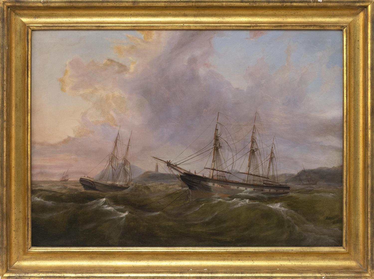 """AMERICAN OR ENGLISH SCHOOL, Circa 1860, Ships under sunset skies., Oil on canvas, 24"""" x 34"""". Framed 29"""" x 40""""."""