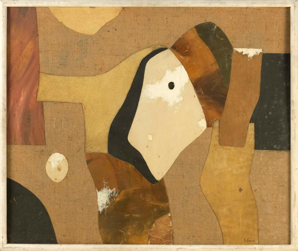 """CHARLES GREEN SHAW, New York, 1892-1974, """"Paleolithic Flux 1955""""., Mixed media with burlap on board, 30"""" x 36"""". Framed 32"""" x 38""""."""