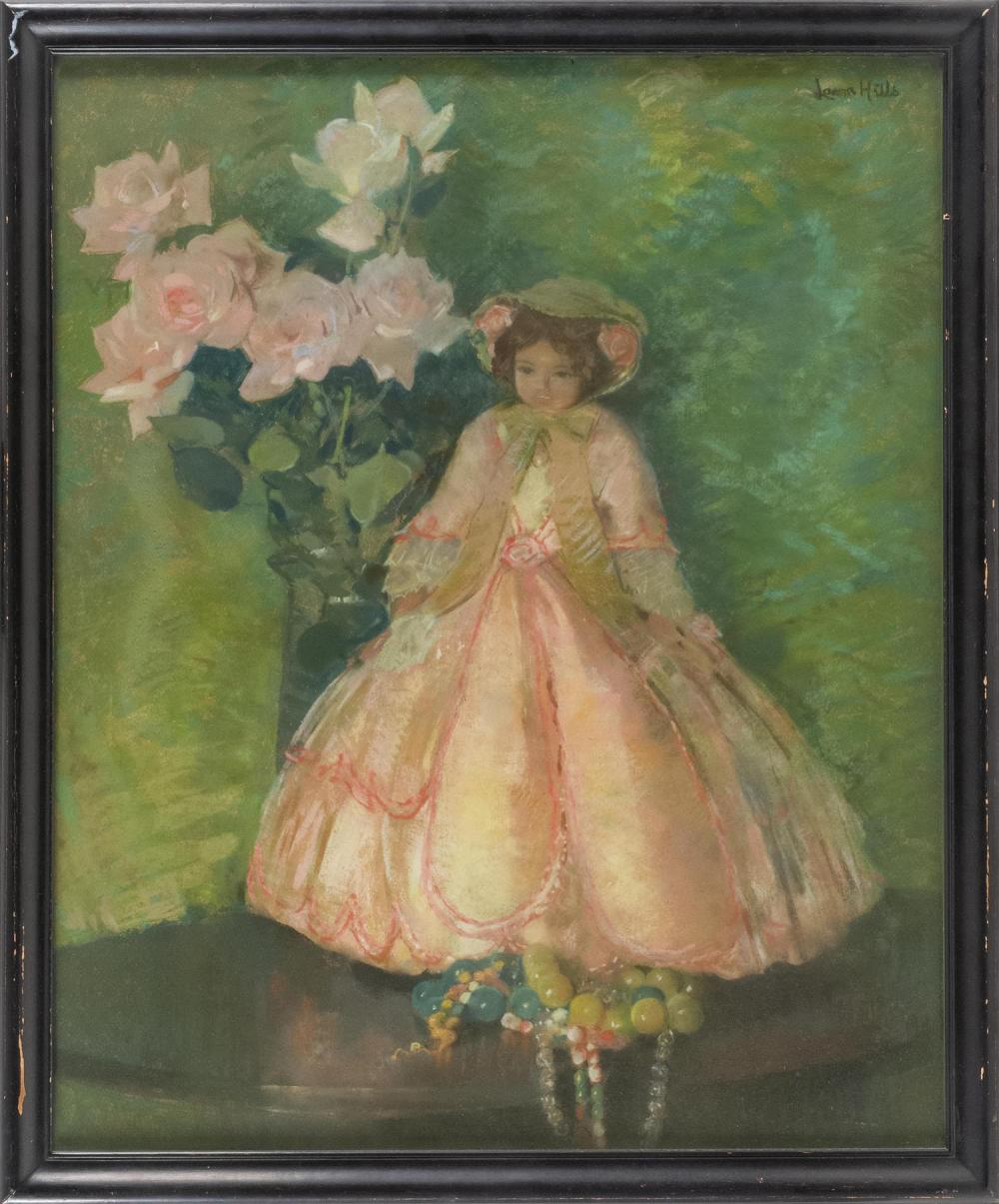 "LAURA COOMBS HILLS, Massachusetts, 1859-1952, ""Patricia, A London Doll""., Pastel, 28"" x 23"" sight. Framed 32"" x 26""."