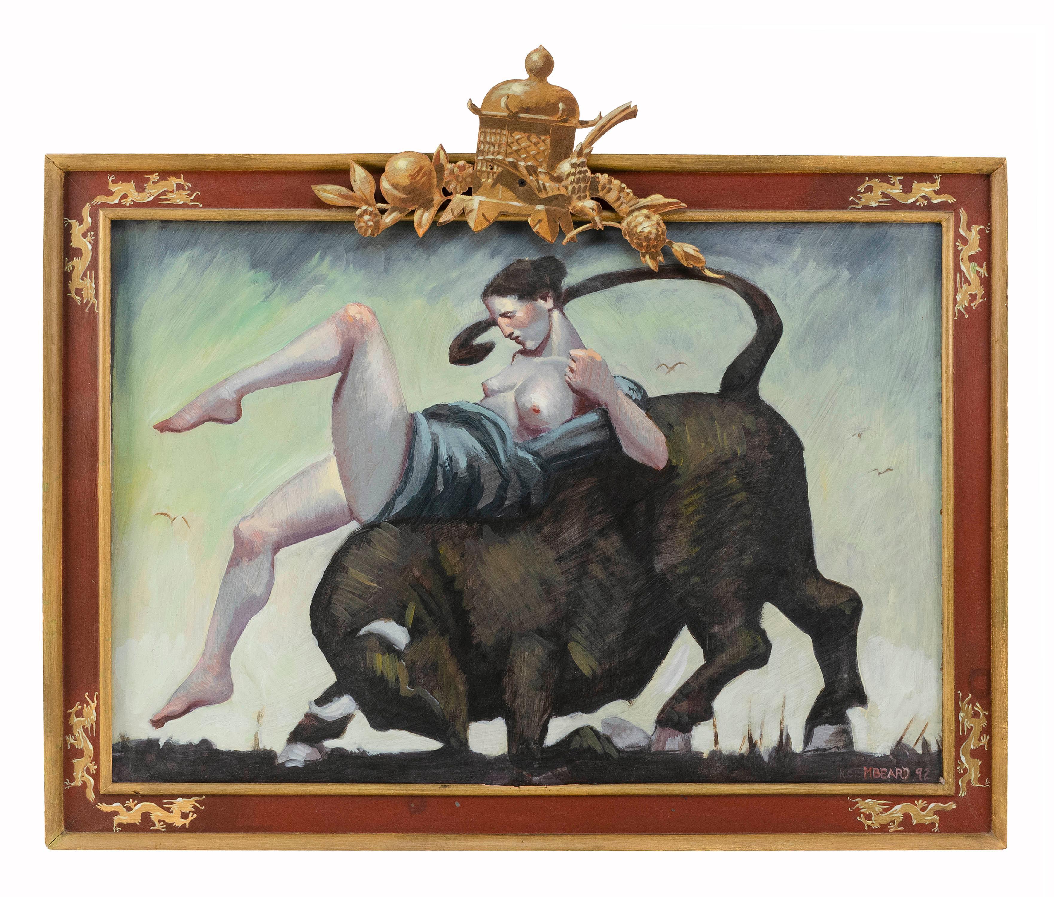 "MARK BEARD, New York/Utah, b. 1956, A semi-nude woman on the back of a bull., Oil on board, 24"" x 36"". Framed 33.5"" x 41""."