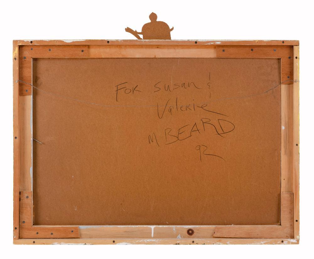 MARK BEARD, New York/Utah, b. 1956, A semi-nude woman on the back of a bull., Oil on board, 24