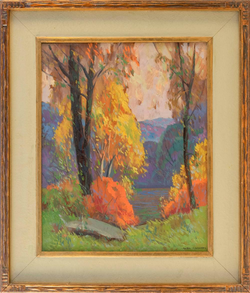 "CARL RUDOLPH KRAFFT, Illinois/Pennsylvania/Ohio, 1884-1938, ""Blue and Gold, Ozarks, 1932""., Oil on board, 20"" x 16"". Framed 28"" x 24""."