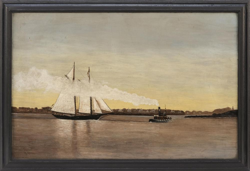 "PAINTING OF A TUG AND SCHOONER ENTERING A HARBOR Possibly Nantucket Harbor. Unsigned. Oil on board, 11.5"" x 17.5"". Framed 13.5"" x 19..."