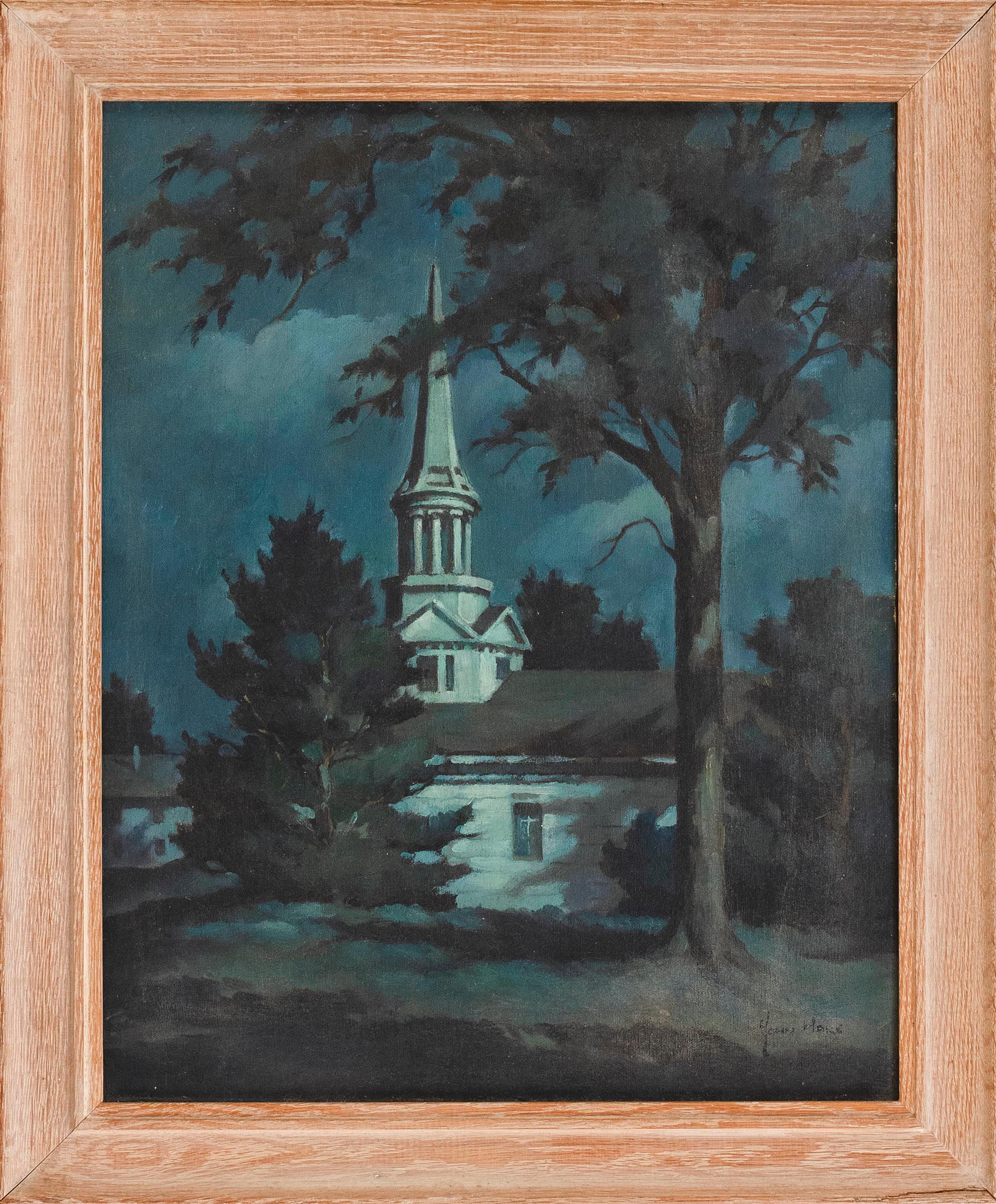 """JOHN CUTHBERT HARE, Massachusetts/Florida, 1908-1978, A church under moonlight., Oil on masonite, 20"""" x 16"""". Framed 24"""" x 19.5""""."""