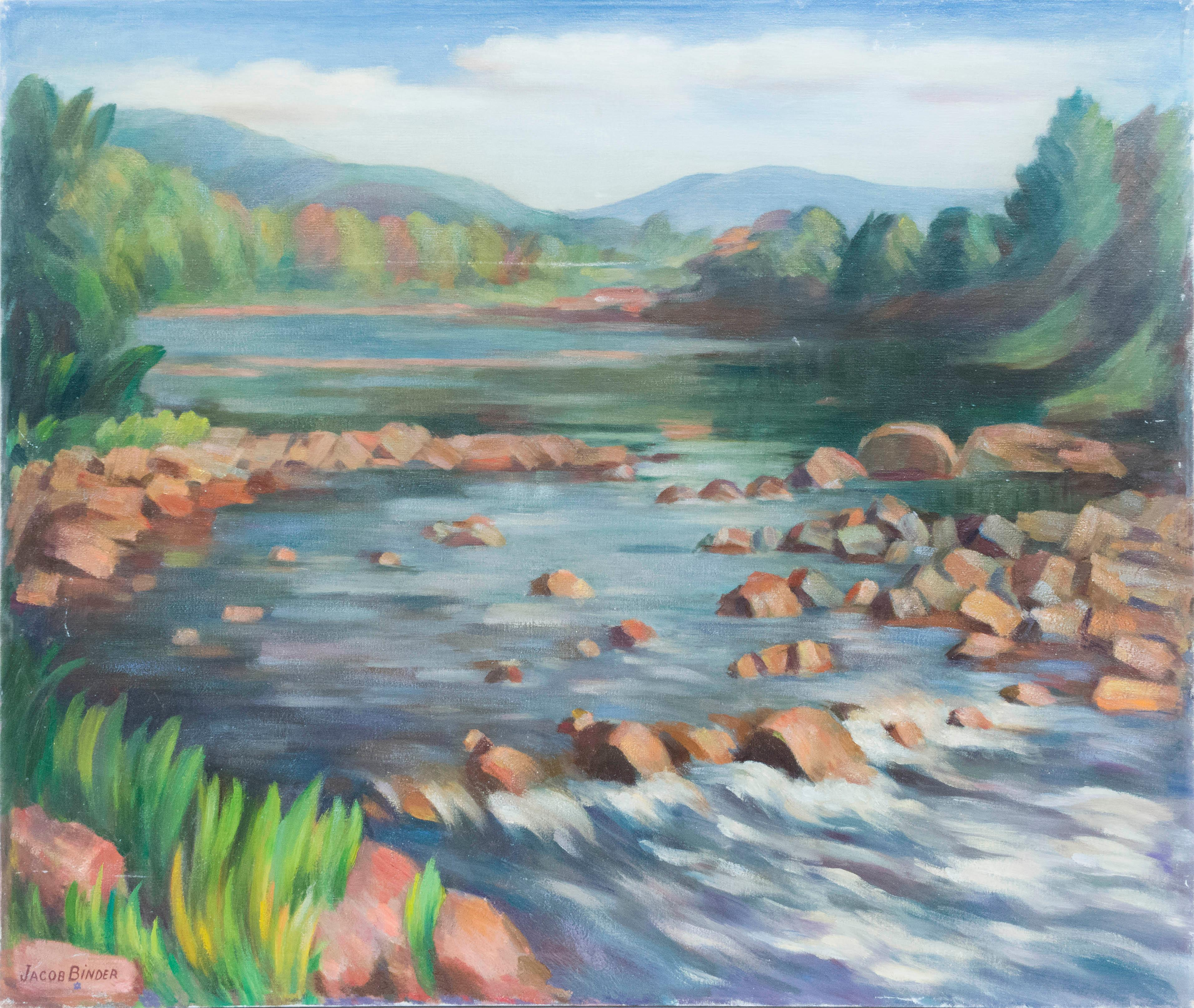 """JACOB BINDER, Massachusetts, 1887-1984, A forest stream and distant mountains., Oil on canvas, 30"""" x 36"""". Unframed."""