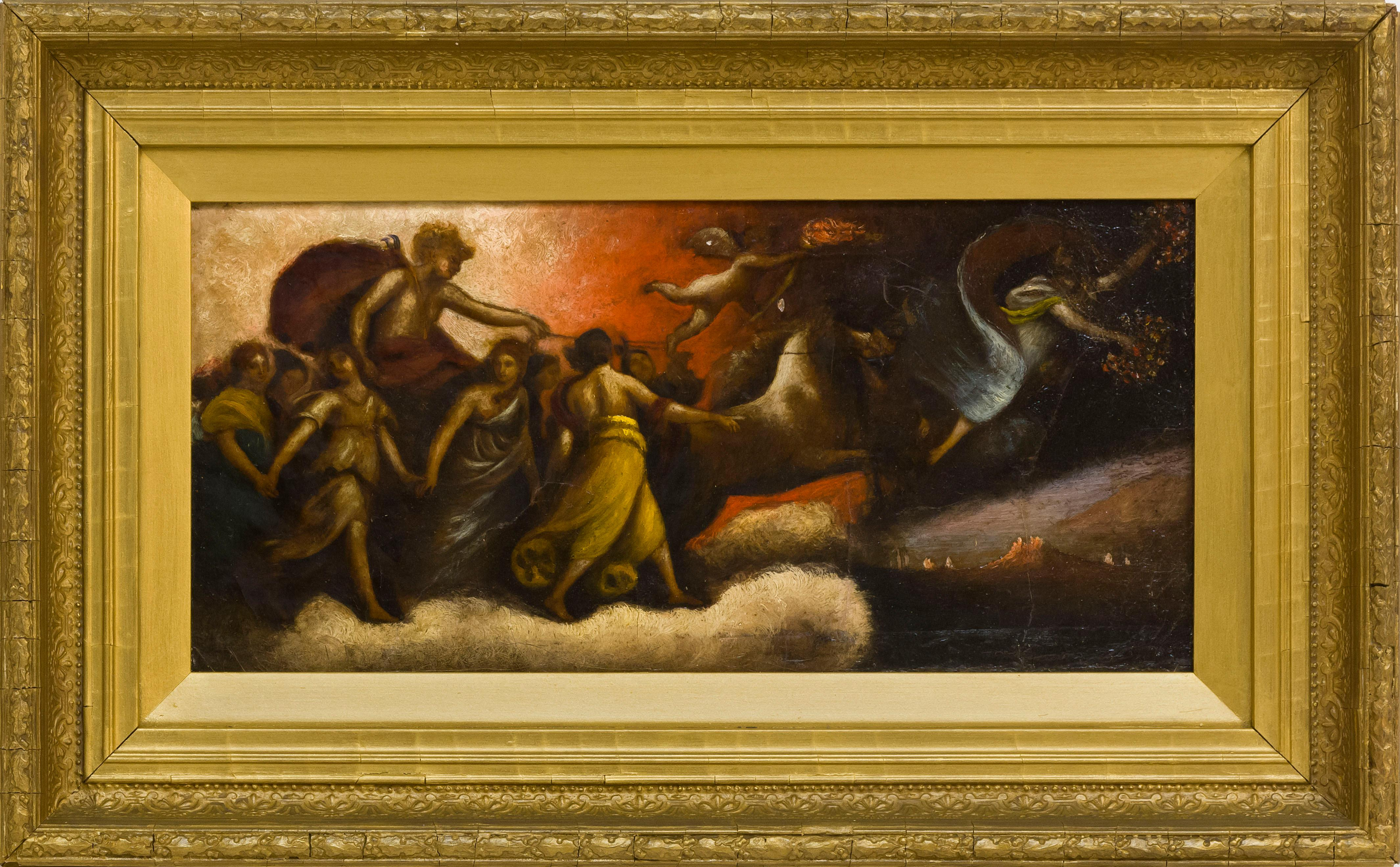 """AFTER GUIDO RENI, 20th Century, """"Aurora"""",, Oil on canvas mounted on masonite, 7.25"""" x 15"""". Framed 12.25"""" x 20""""."""