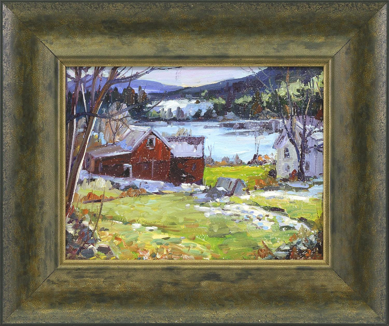 "ROBERT W. DUFFY, Massachusetts, 1928-2015, ""Princeton Farm""., Oil on board, 9"" x 12"". Framed 14"" x 17""."